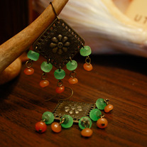 Brass Escutcheon, Green Glass, and Aventurine Earrings