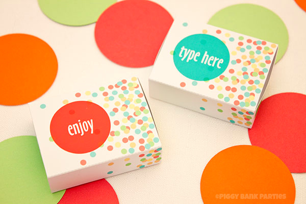CONFETTI MATCHBOX Favor BoxDIY Printable Piggy Bank Parties