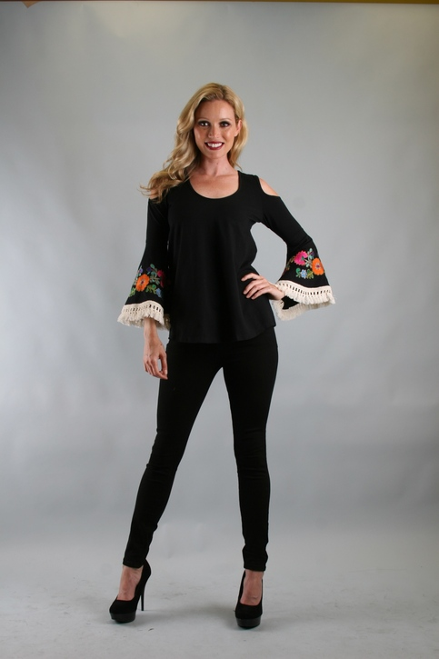 Green Apple | VaVa by Joy Han Brynn Open Shoulder Top Black | Online Store Powered by Storenvy :  fashion black embroidered top