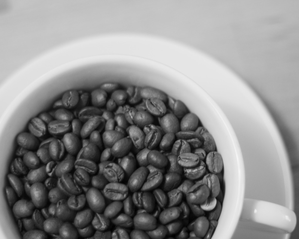 beans in a cup print Coffee Beans Black And White
