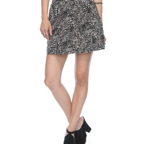 In M & L - cream taupe black cross hatch wild reptile print mini skirt