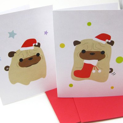 Pug christmas cards (set of 10)