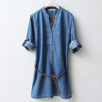 Denim dress with belt