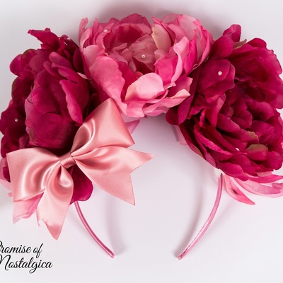 Huge Pink Flower Headbow Pearl Applications Promise Of