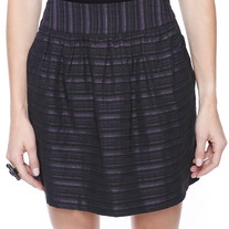 S black purple silver thread stripe gathered line mini skirt