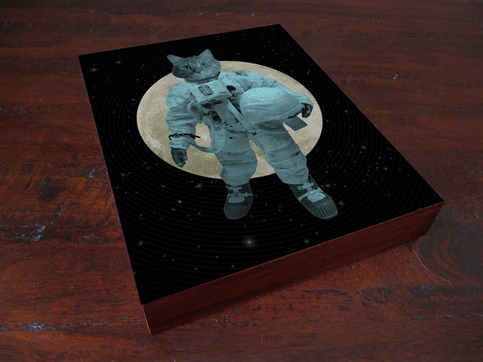 Astronaut Space Cat - Wood Block Art Print