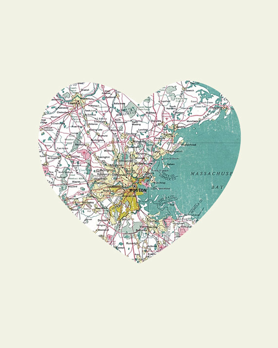 Boston Art City Heart Map Wood Block Art Print