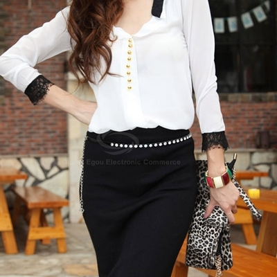 Laced plunging neck chiffon blouse