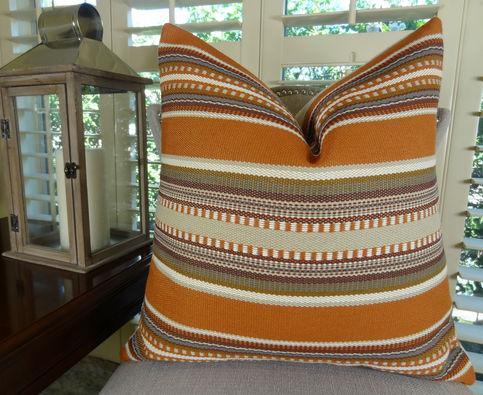 22 Quot X 22 Quot Designer Decorative Throw Pillow Orange Brown