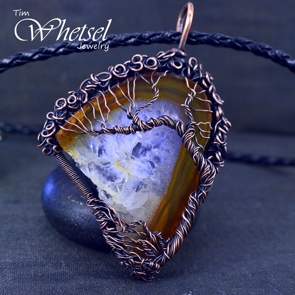 Resin Faux Crystal Wire Wrapped Pendant Necklace Diy: Brown Crystal Agate (A)