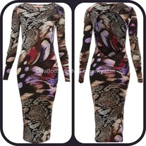 Multi Print Snakeskin Bodycon Dress