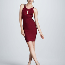 """Kara"" Deep Red Bandage Dress"