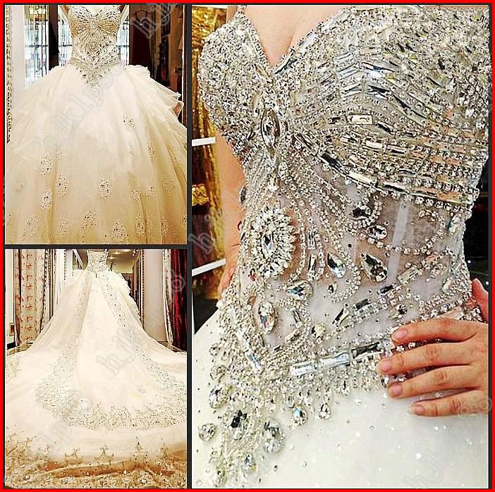 Yz luxury crystal bright sexy beautiful dream wedding for Diamond mermaid wedding dresses