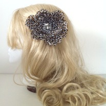 big diamond rhinestone jewel brown black leopard spot wild print peony hair flower clip