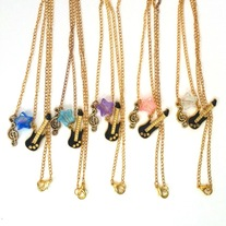 In Clear, Pink, Blue, or Purple - One Gold Black Rock Star Cluster Charm Pendant Chain Electric Guitar Necklace
