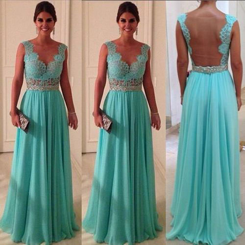Mint Green Chiffon Prom Dress With Open Back And Lace Bodice ...