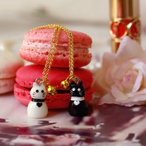 Kitty & bell charm necklace