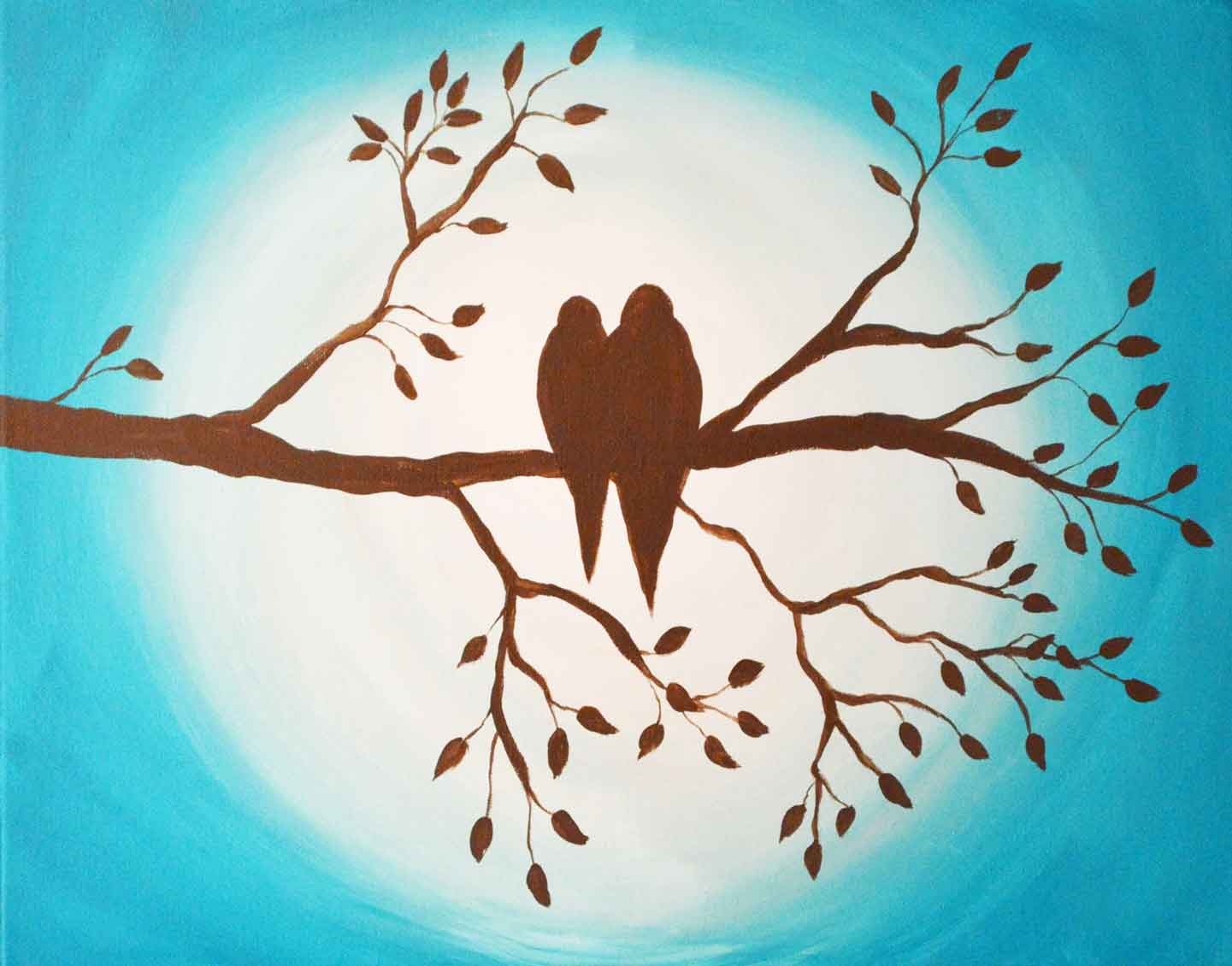 just paint it by colleen birds on branch silhouette online
