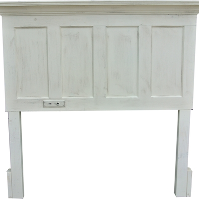 Full size faux distressed antique white door headboard