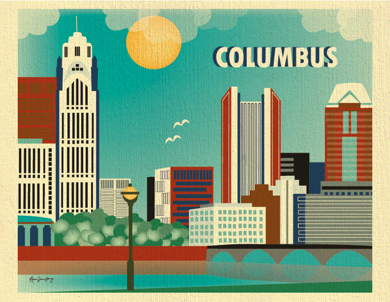 Columbus ohio skyline destination travel art poster print for home office and nursery rooms - Home decor stores in columbus ohio style ...