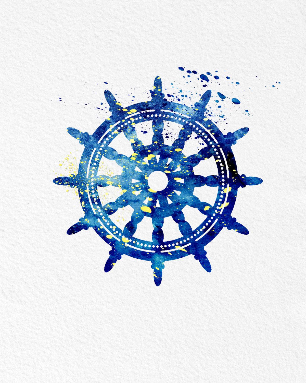 Watercolor art ships wheel gift modern 8x10 wall art decor watercolor art ships wheel gift modern 8x10 wall art decor nautical theme ships wheel wall hanging amipublicfo Choice Image