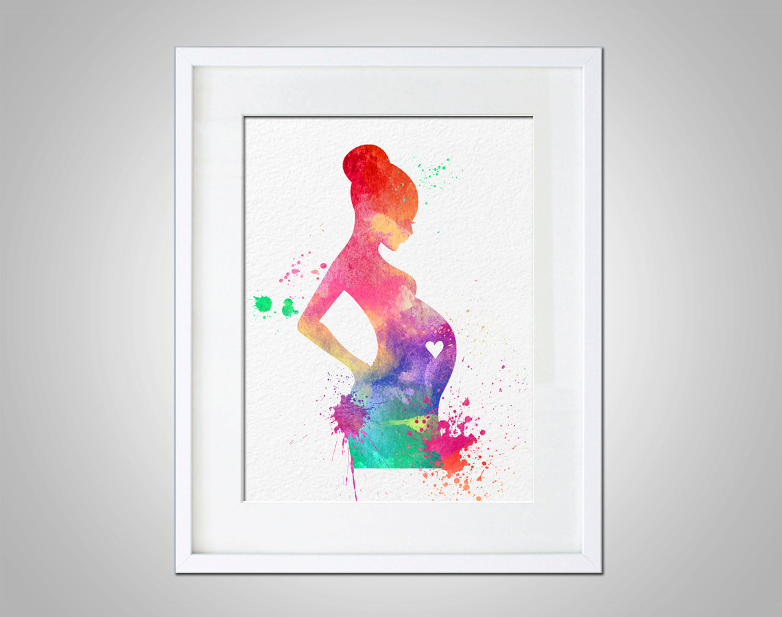 Watercolor art expectant mother baby shower gift modern for Wall artwork paintings