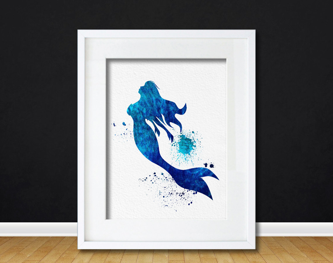 Watercolor Art Mermaid Legend Of The Sea Gift Modern 8x10 Wall Art Decor  Ocean Illustration Art