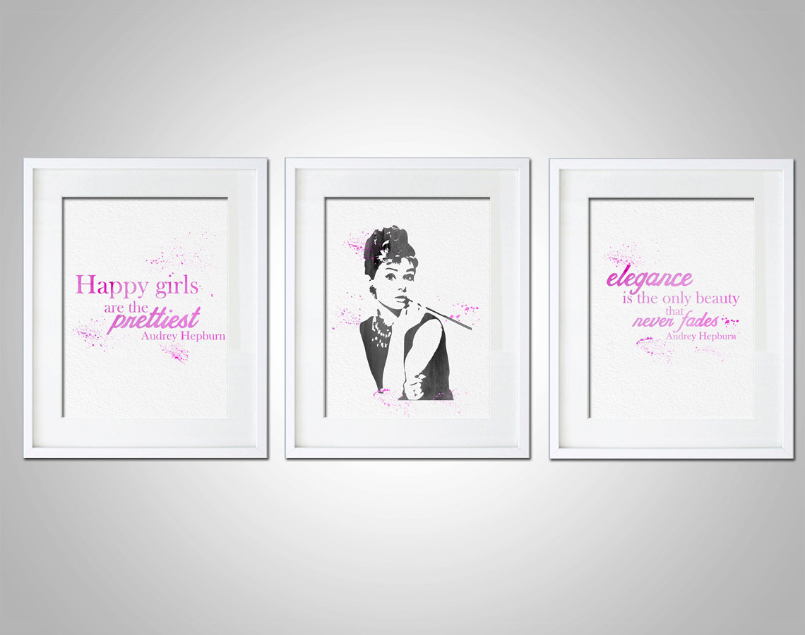 Watercolor Art Print Audrey Hepburn Quote Set Of 3 Modern 8x10 Wall Art  Decor Illustration Gift