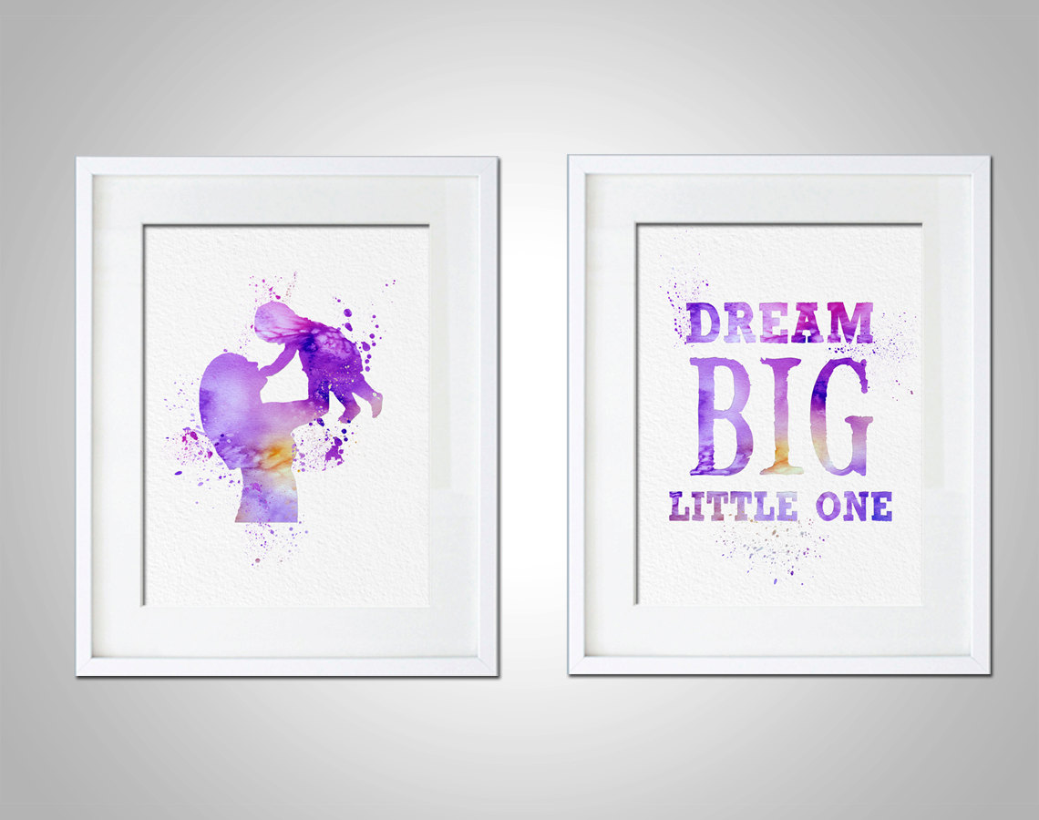 Watercolor Art Print Nursery Typography Dream Big Little One Set of ...
