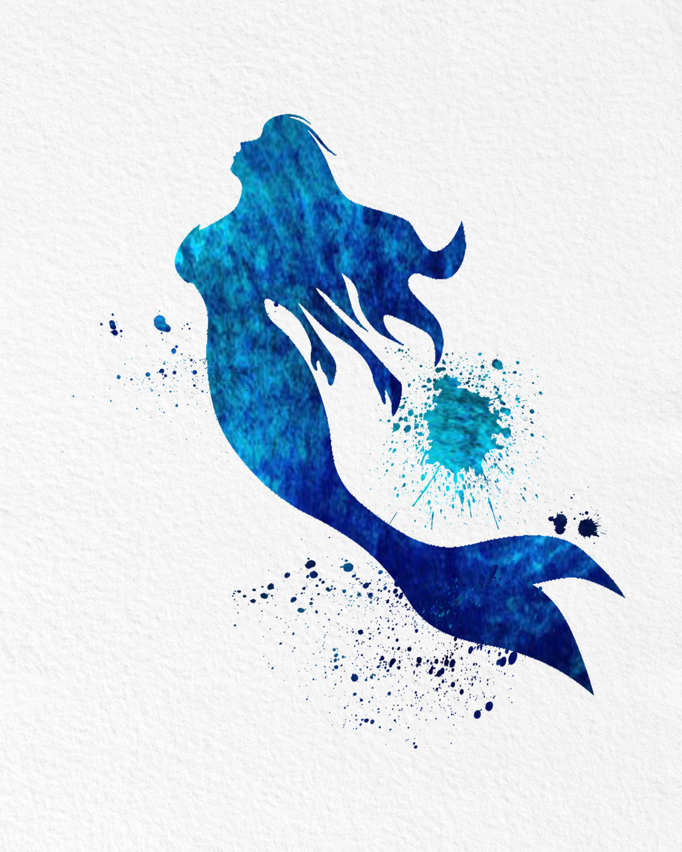Watercolor Art Mermaid Legend Of The Sea Gift Modern 8x10