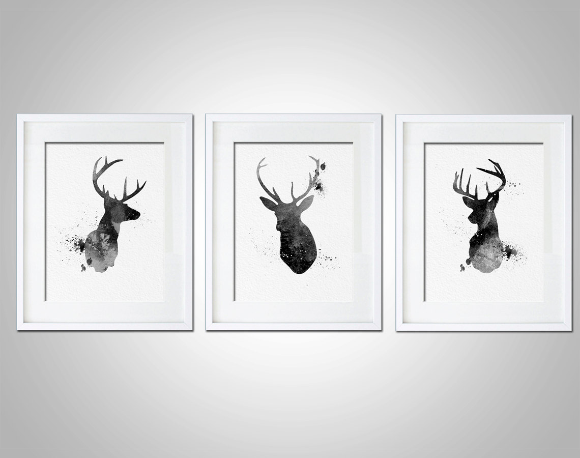Watercolor art print neon deer head box set of 3 modern for Black and white mural prints