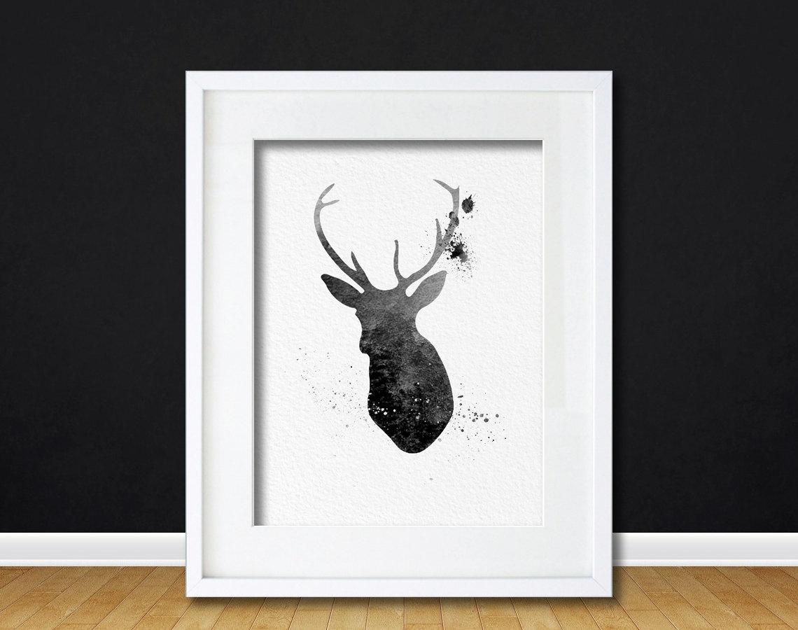 Deer Wall Art watercolor art buck deer gift modern 8x10 wall art decor buck deer