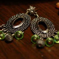 Silver and Green Glass Post Earrings