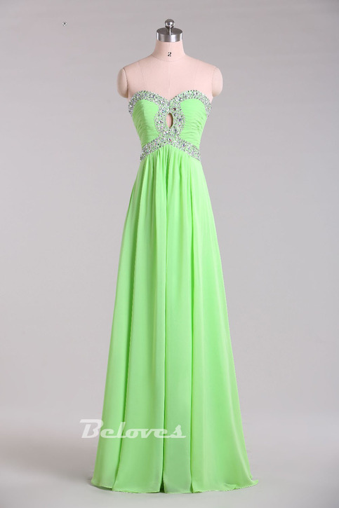 Light green beaded sweetheart prom dress with cut out for Wedding dress shops in green bay wi