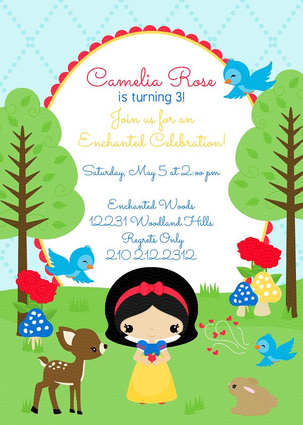 J G Design Studio – Snow White Party Invitations
