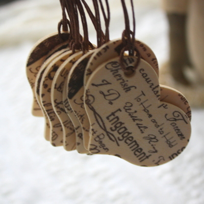 Wood heart tags - wish tags