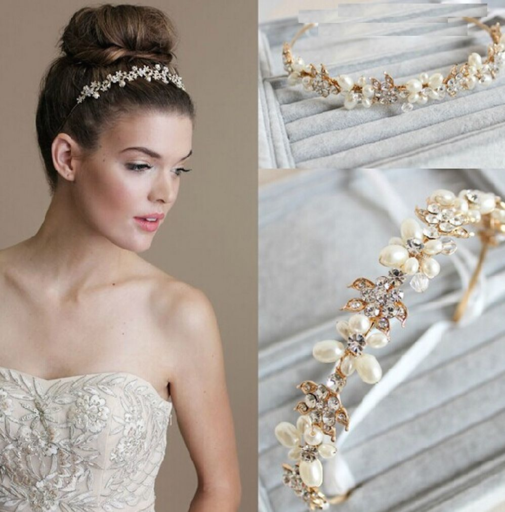 Bridal Wedding Bride Rhinestone Crystal Gold Pearl Hair