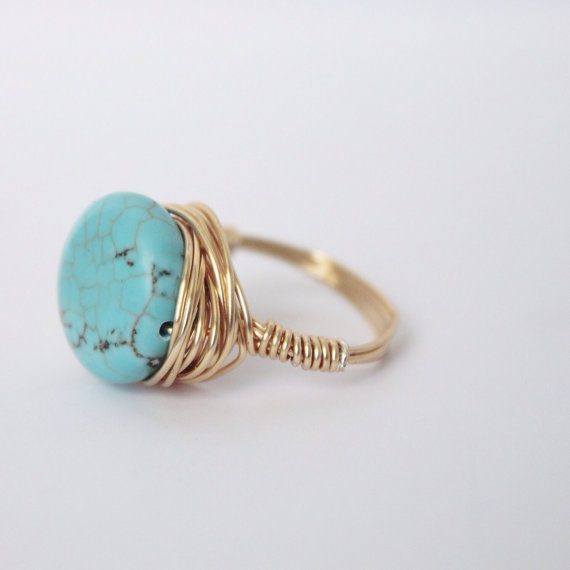 Turquoise Circle Magnesite Gold Ring Wire Wrapped Ring