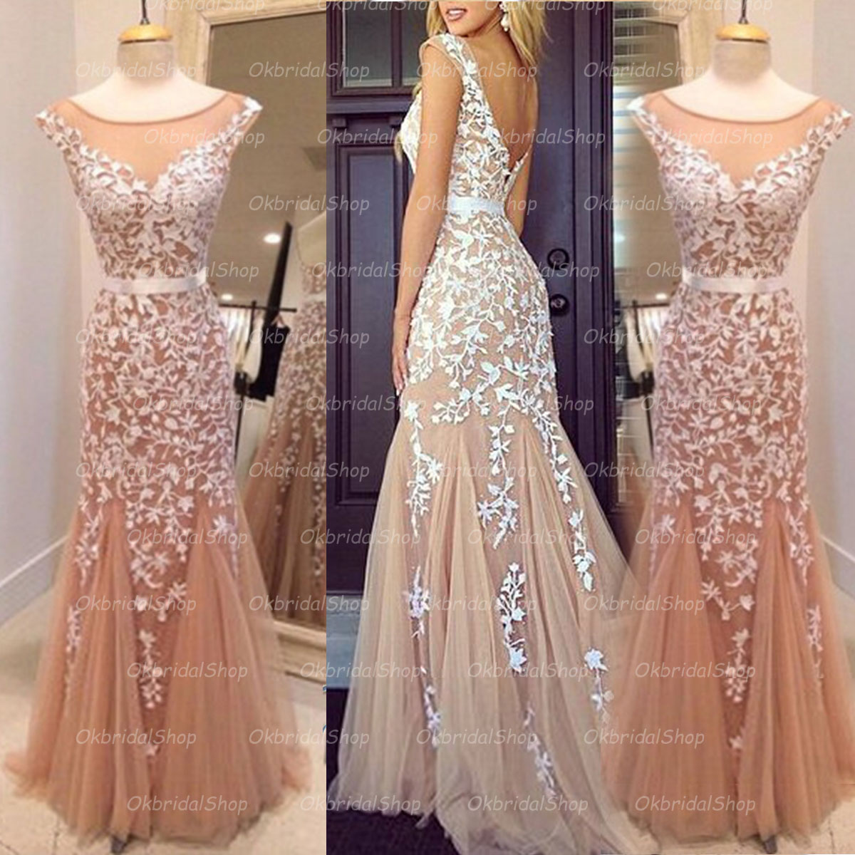 Lace prom dresses long