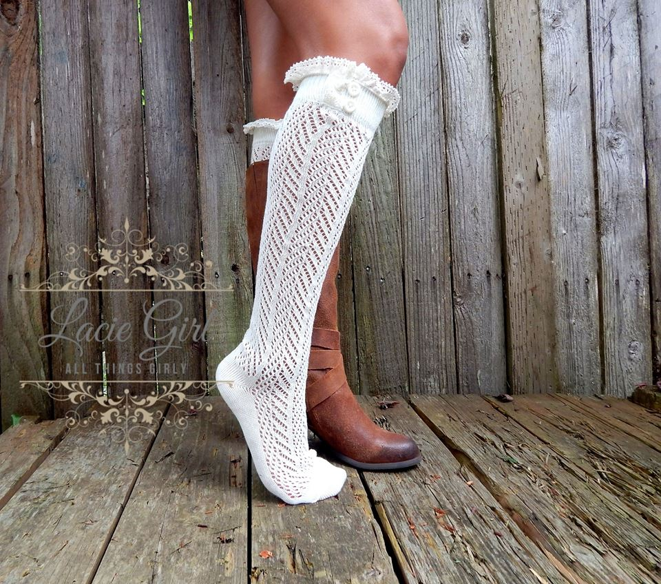 Ivory chevron knee high Socks with cream lace trim color with ...