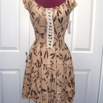 M brown tan dragonfly print short puff sleeve sundress cotton lace fitted dress