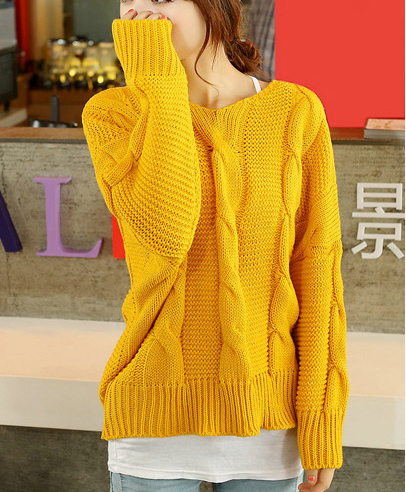 supergirlbeauty | Yellow / Dark Red v-neck women sweater SW050 ...