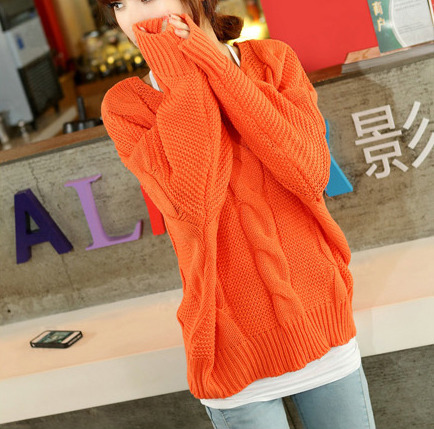 Orange / Dark Blue v-neck women sweater SW050 on Storenvy