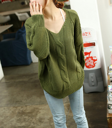 supergirlbeauty | Dark Green / Black v-neck women sweater SW050 ...