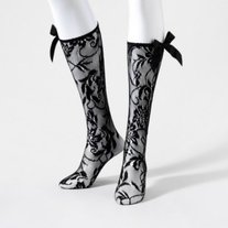 rockabilly gothic black lace bow netted knee-hi socks floral mesh knee-highs