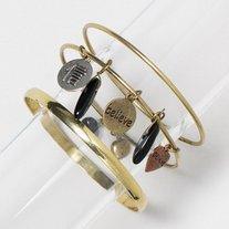 brass bronze black dangle charm believe bracelet bangle set