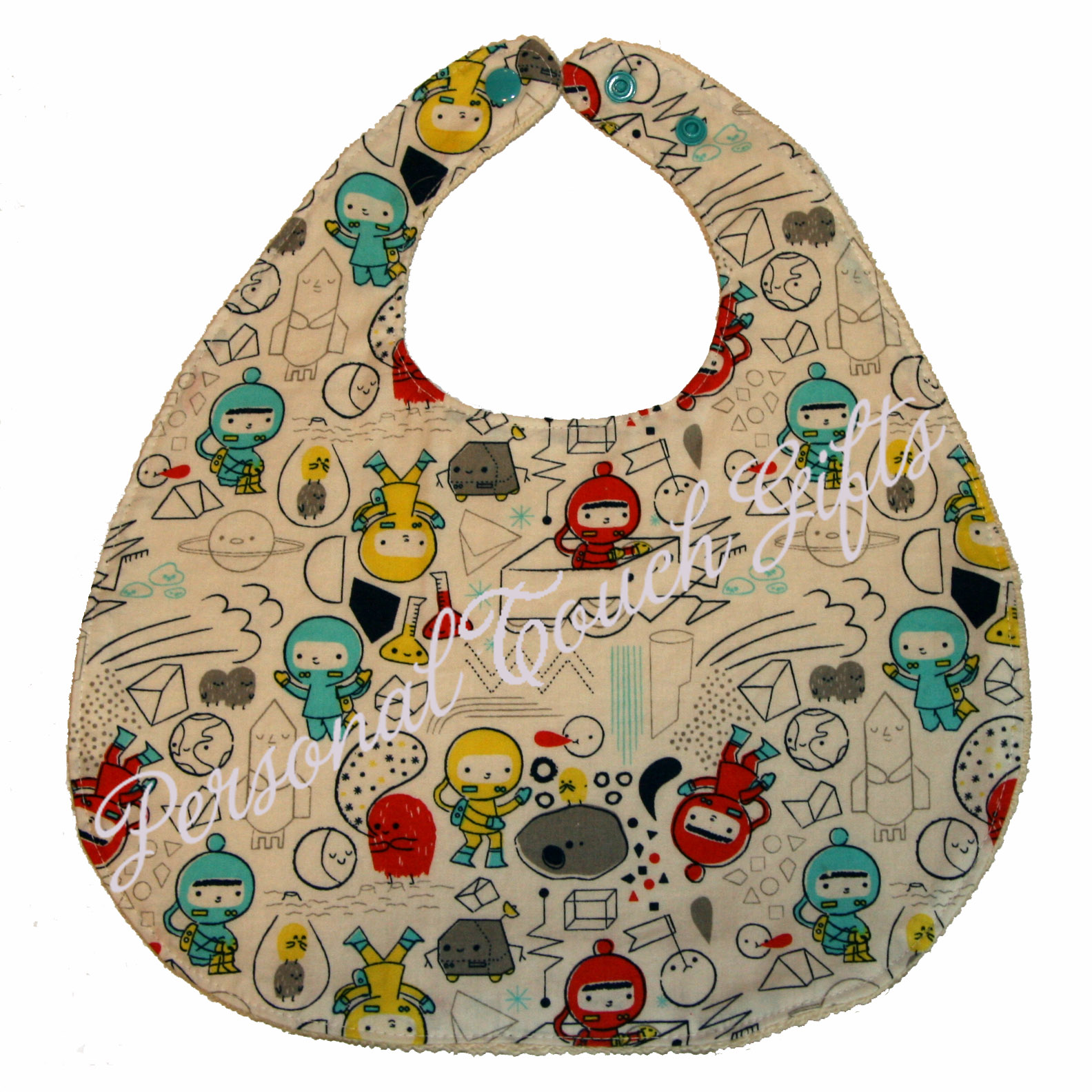 Space explorers on white fabric organic baby bib for Space baby fabric
