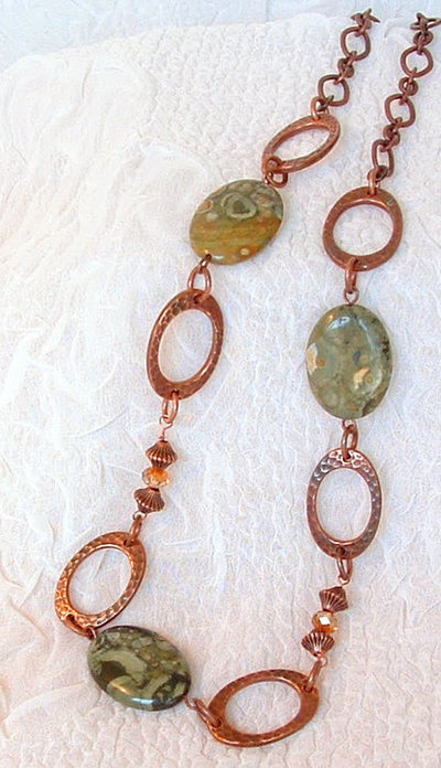 Oval Unakite and Copper Necklace