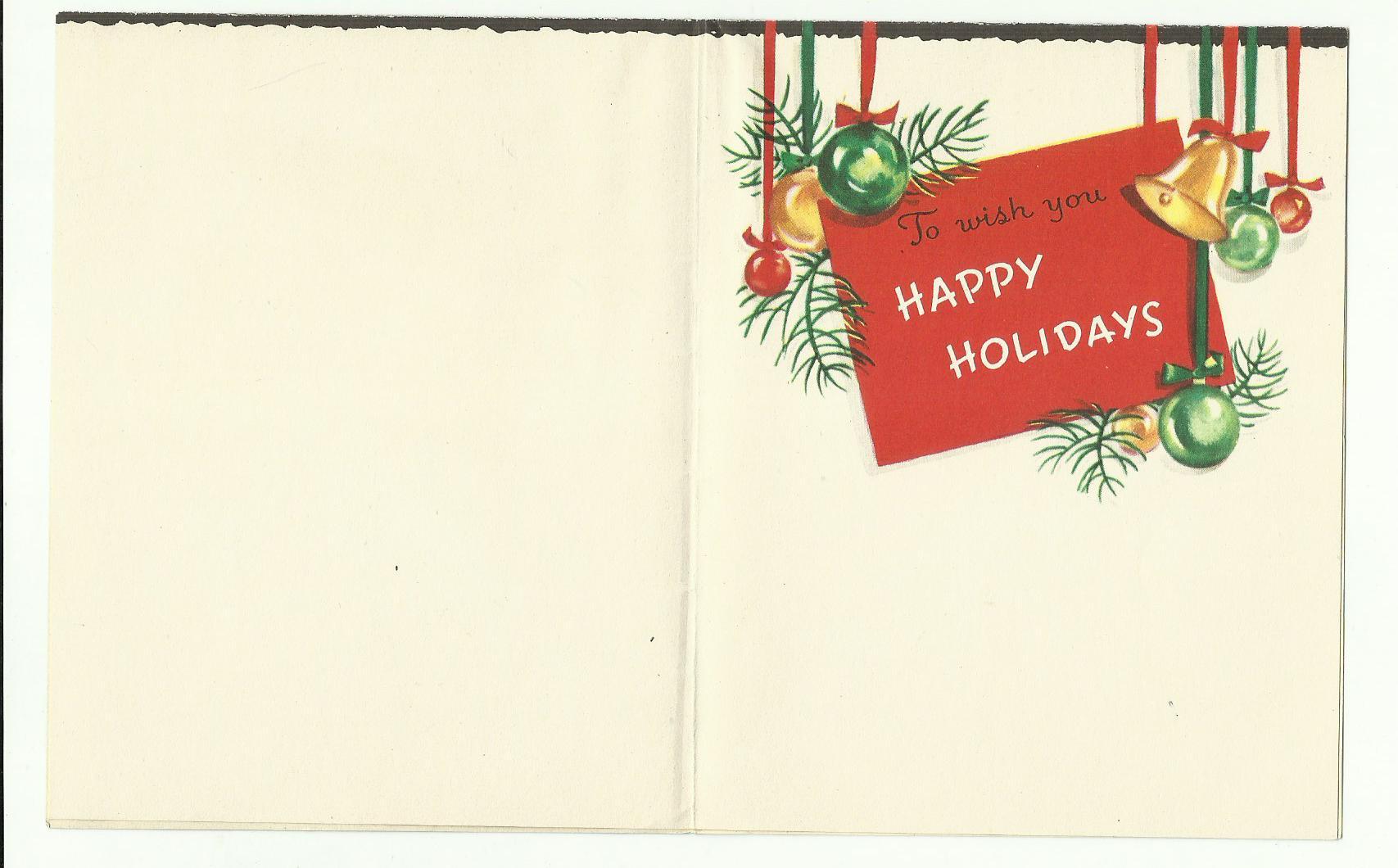 Unused Vintage Greetings Of The Season Bright Colors On Black