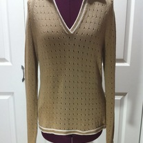 M - Brioni Italy khaki brown pullover cotton knit sweater uniform long sleeve